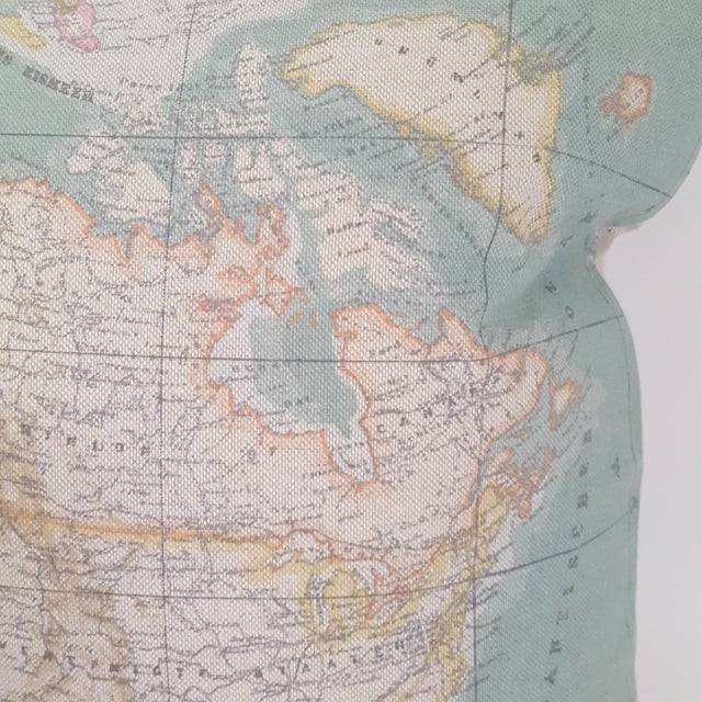 North America Map Square Pillow For Sale - Image 4 of 12