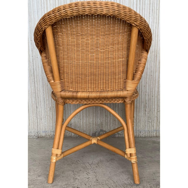 Mid-Century Modern Midcentury Set of Six Bamboo and Rattan Dining Room Armchairs For Sale - Image 3 of 13
