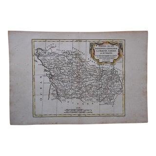 18th C. Antique Map -France-Poitou, Aunis...Auvergne