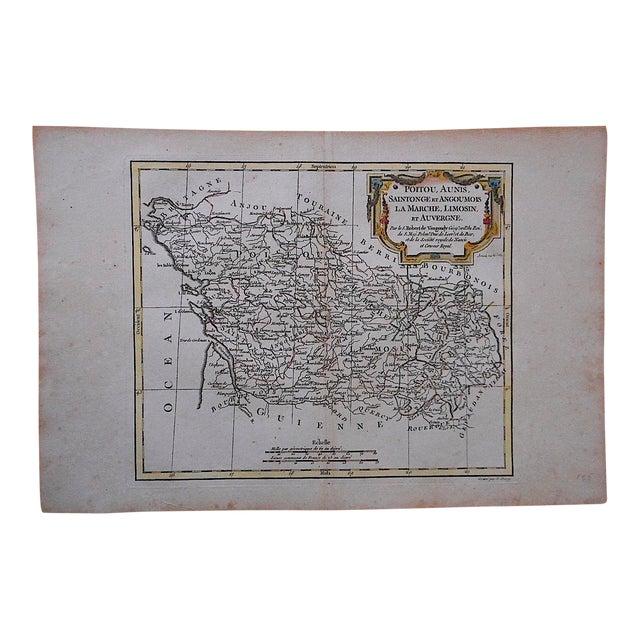 18th C. Antique Map -France-Poitou, Aunis...Auvergne For Sale
