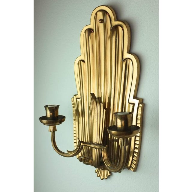 Swedish Grace Brass Sconces - A Pair - Image 3 of 6