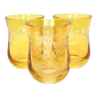 Vintage Bohemian Cut to Clear Etched Amber Shot Glasses - Set of 3 For Sale