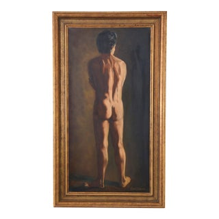 Midcentury Robert E Williams, Standing Male Nude Oil Painting