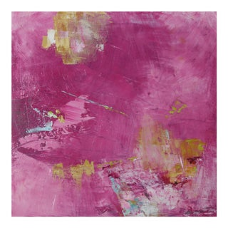 Abstract Floral Fuschia Oil Painting