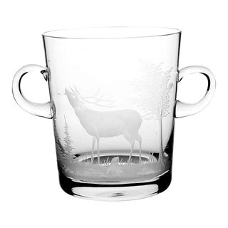 Queen Lace Crystal Mid Century Etched Stag Ice Bucket
