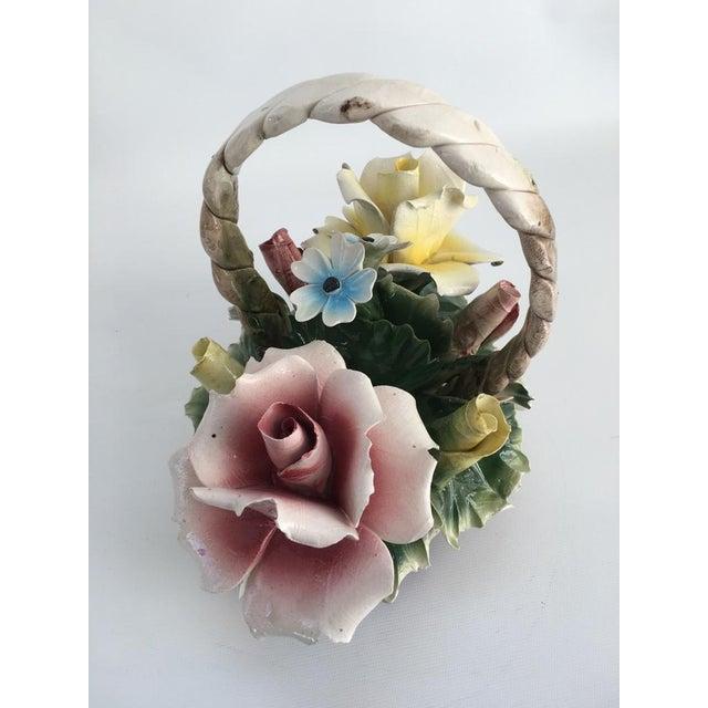 Pink Vintage Italian Crown Capodimonte Porcelain Floral Arrangement For Sale - Image 8 of 11