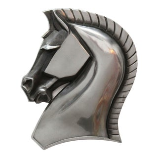 Art Deco Horse Head Metal Wall Hanging For Sale