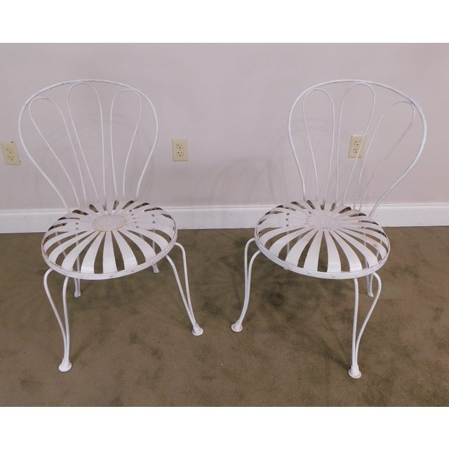 High Quality Vintage Pair of White Painted Metal Side Chairs - in the Style of Francois Carre