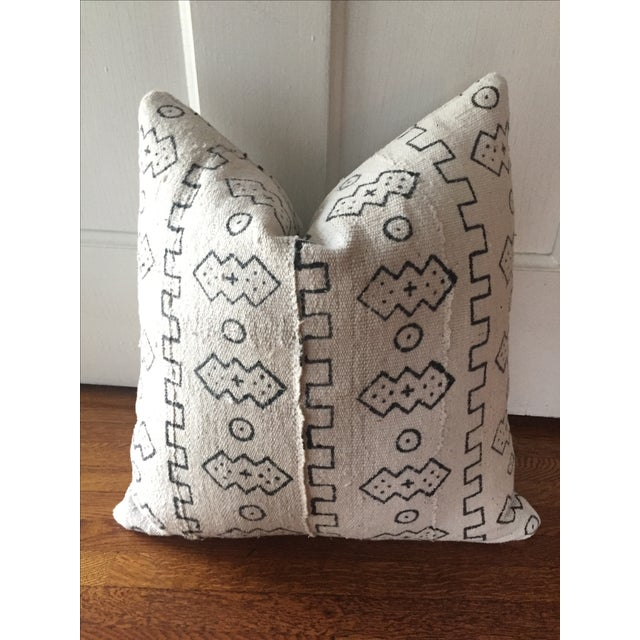 Boho Chic White African Mudcloth Pillow Cover - Image 2 of 10