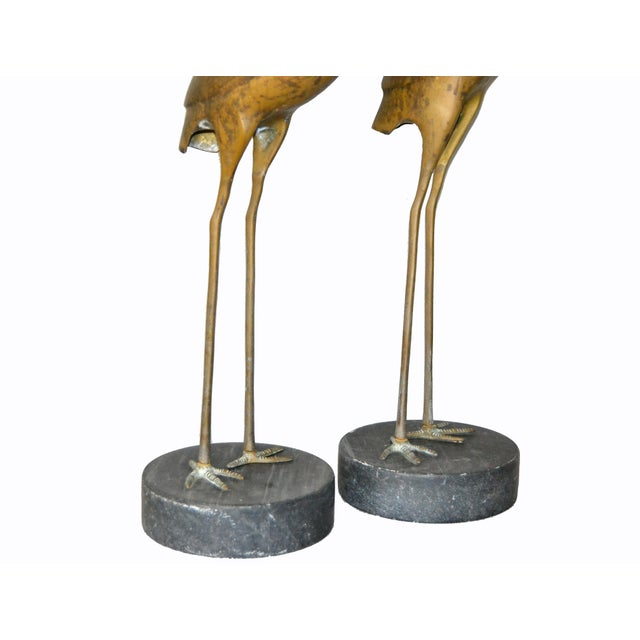Hollywood Regency Asian Style Bronze Crane Sculptures Black Marble Base, a Pair For Sale - Image 9 of 13