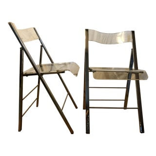 Mid-Century Bent Lucite Folding Chairs - A Pair For Sale
