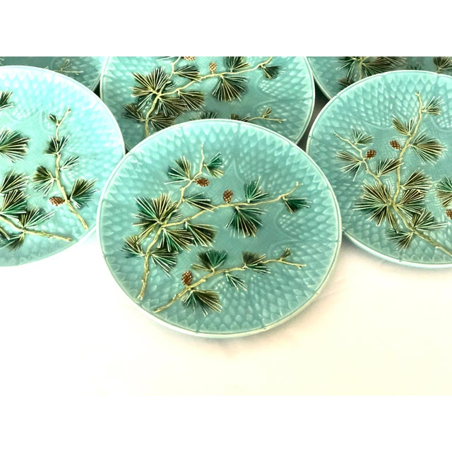 Art Nouveau Late 19th Century Antique French Majolica Turquoise Plates by Sarreguemines - Set of 10 For Sale - Image 3 of 11