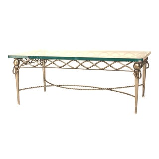 1970s Italian Glass and Steel Rope Design Coffee Table For Sale