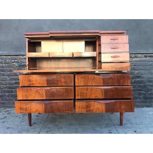 Wood 1960s Scandinavian Modern Erling Torvits for Klim Mobelfabrik Rosewood Secretary Desk For Sale - Image 7 of 13