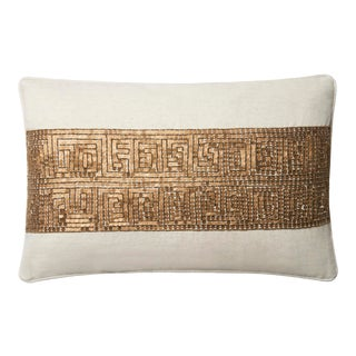 "Justina Blakeney X Loloi Ivory / Gold 13"" X 21"" Cover with Down Pillow For Sale"