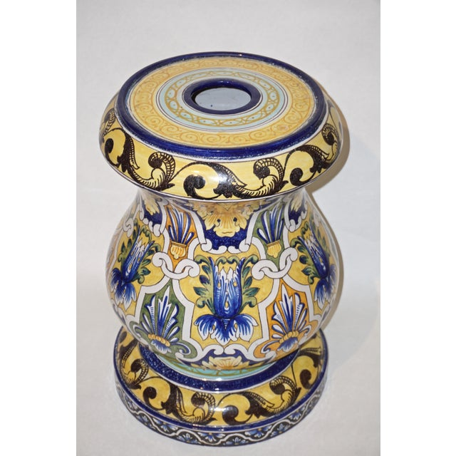 Montagnon 1880s French Blue, Yellow, Green Majolica 2 Pc. Jardinière on Stand For Sale - Image 11 of 13