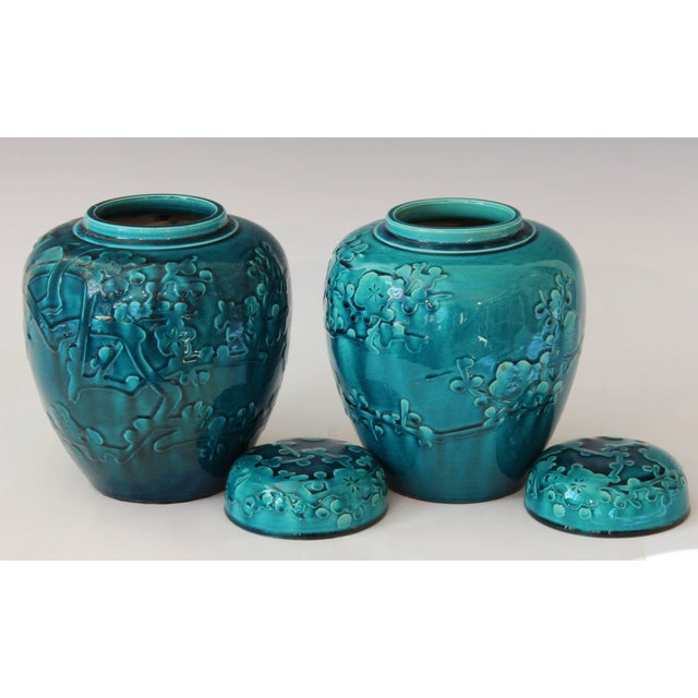 Art Deco Pair of Turquoise Awaji Pottery Ginger Jars, Covers Applied and Incised Prunus For Sale - Image 3 of 9