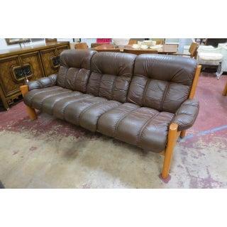 Vintage Mid Century Modern Ekornes Scandinavian Solid Teak and Leather Sofa Preview