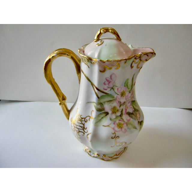 Ceramic Antique Late 19th Century Limoges France Hand Painted Apple Blossom Chocolate / Cocoa Pot For Sale - Image 7 of 7