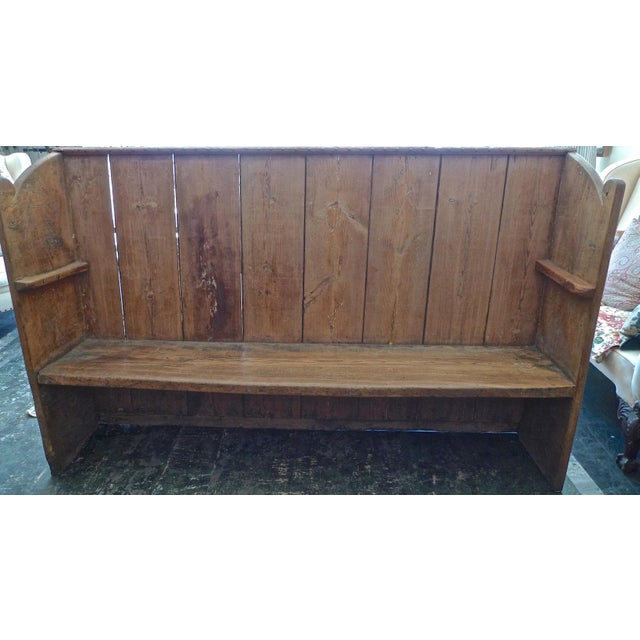 19th Century English Stained Pine Church Pew For Sale - Image 4 of 12
