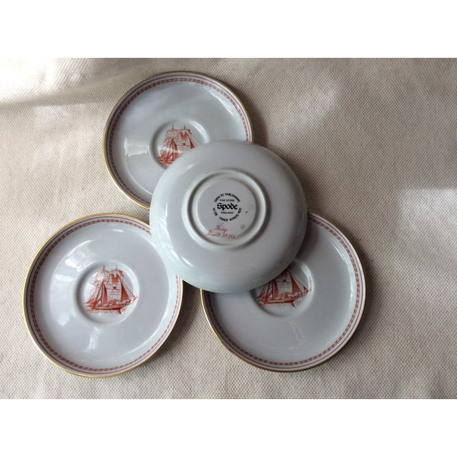 Ceramic Spode TradeWinds Pattern Coffee Cups, Saucers and Plates - Set of 12 For Sale - Image 7 of 11