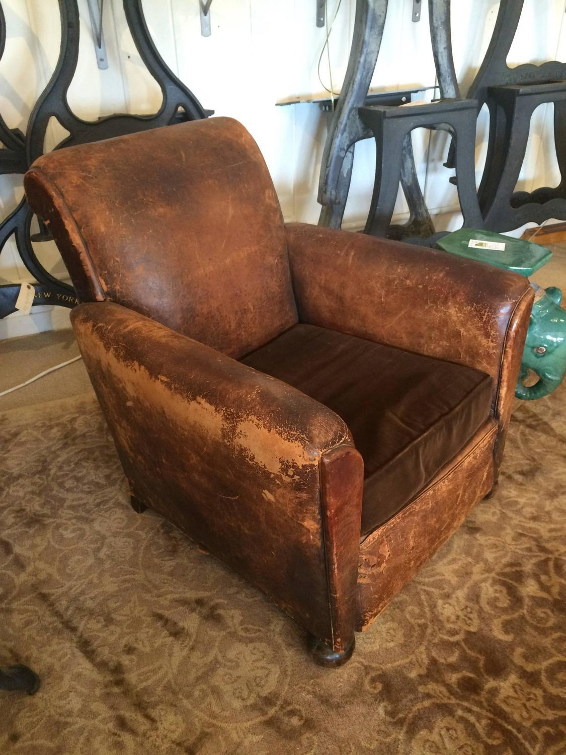 Distressed Leather U0026 Velvet French Club Chair   Image 2 Of 10