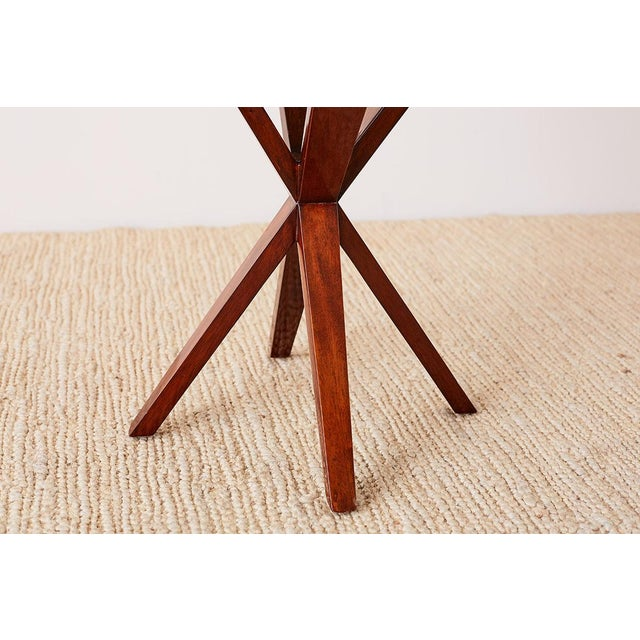 Late 20th Century Art Deco Style Mahogany and Goatskin Vellum Drinks Table For Sale - Image 5 of 13
