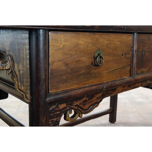 Mid 19th Century Chinese Antique Wooden Altar Table With Drawers For Sale - Image 5 of 10