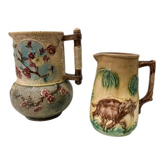 Set of 2 Antique English Majolica Pitchers