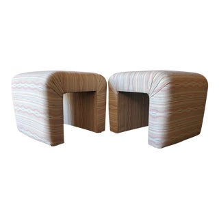 Vintage Upholstered Waterfall Low Stools - A Pair