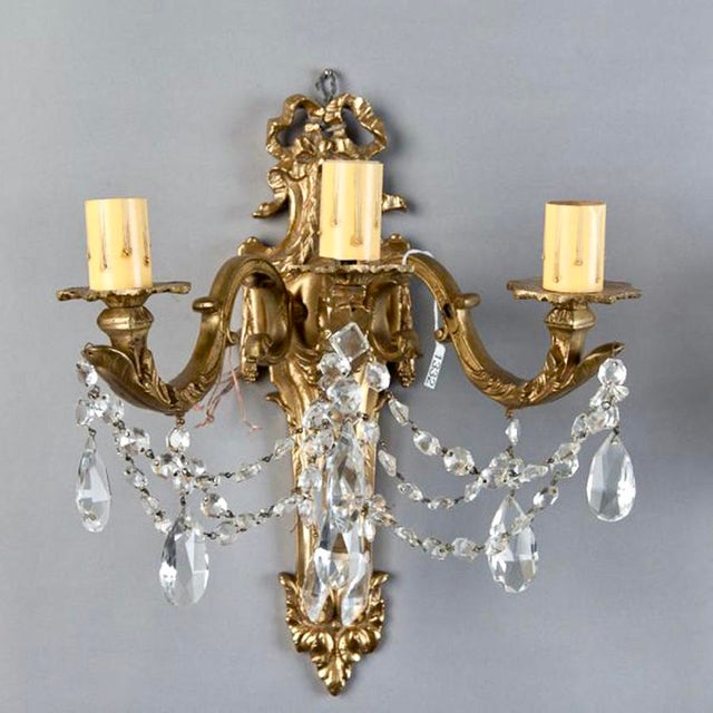 French Brass & Crystal Acanthus Rococo Style Three Arm Sconces - Pair For Sale In Detroit - Image 6 of 7
