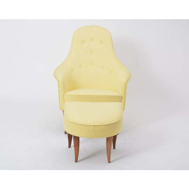 Large Adam' Reupholstered Lounge Chair With Ottoman by Kerstin Hörlin-Holmquist For Sale - Image 12 of 12