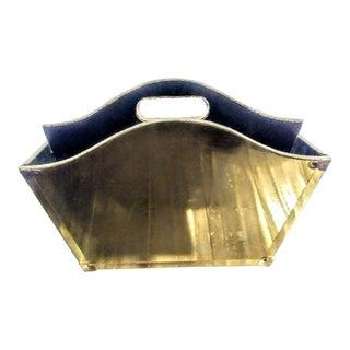 Brass Clad Hollywood Regency Magazine Holder Rack For Sale