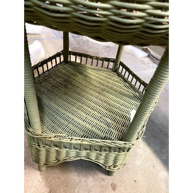 Wicker Vintage Light Green Painted Wicker Round Side Table For Sale - Image 7 of 13