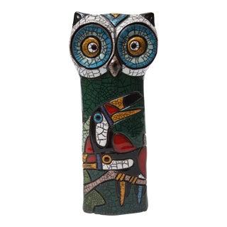 1960s Italian Modern Terracotta Ceramic 'Crackle' Owl For Sale