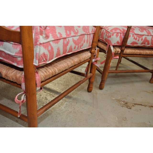 Ikat French Ladderback Cushioned Rush Seat Chairs - A Pair - Image 7 of 8