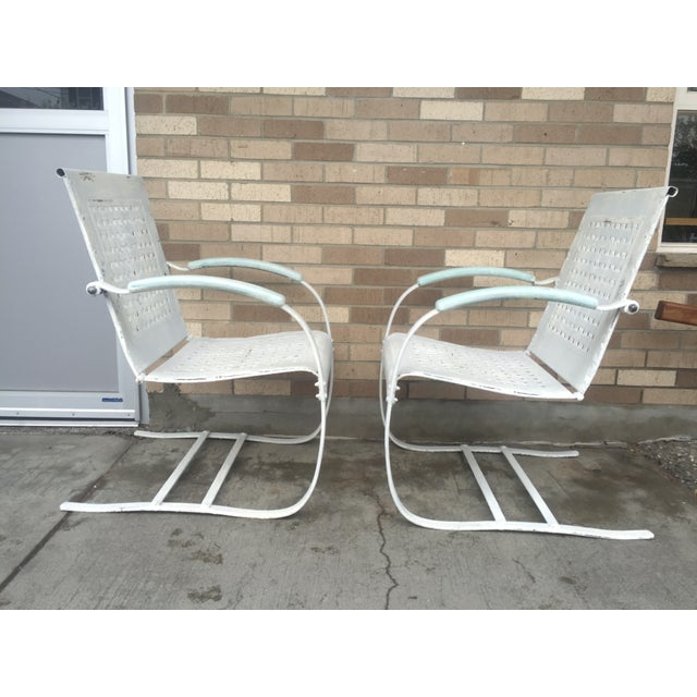 Mid-Century White Patio Chairs - A Pair - Image 3 of 7