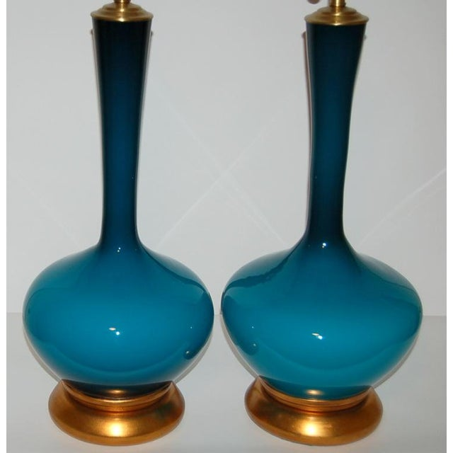 1950s Vintage Marbro Handblown Swedish Glass Table Lamps- A Pair For Sale In Little Rock - Image 6 of 9