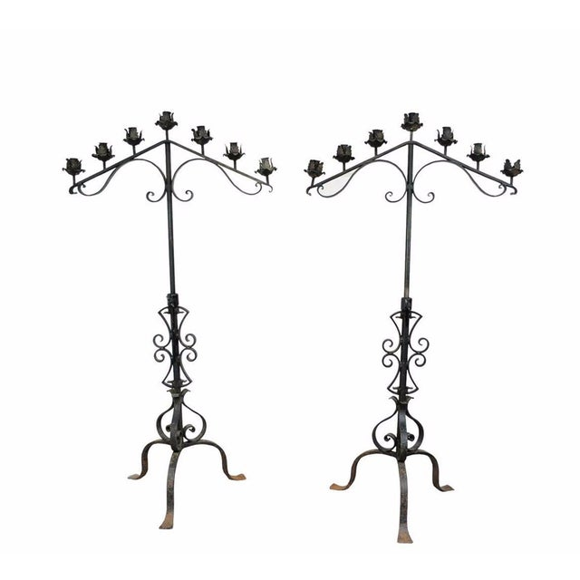 "61"" Pair of Antique Gothic Mission Arts & Crafts Wrought Iron Candelabras Church For Sale - Image 11 of 11"