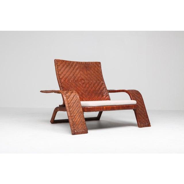 Marzio Cecchi 1970s Postmodern Lounge Chair in Woven Leather by Marzio Cecchi For Sale - Image 4 of 10