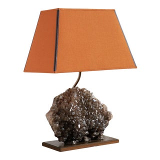 Smokey Quartz Specimen Table Lamp with Terracotta Lamp Shade For Sale