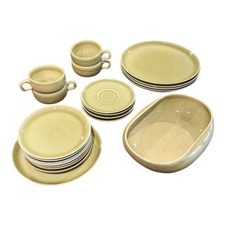 1950s Russel Wright American Modern Dinnerware in Chartreuse - Set of 21 For Sale