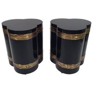 20th Century Hollywood Regency Bernhard Rohne for Mastercraft Acid Etched Side Tables - a Pair