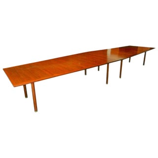Conference, Dining Table by Dunbar, Walnut With Rosewood Trim, 1970s For Sale