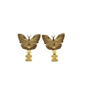 Brass Butterfly Lamp Finials - a Pair For Sale