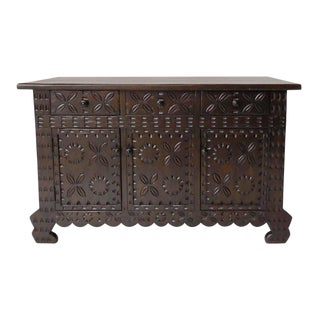 Custom Carved Console, Media or Vanity Cabinet For Sale