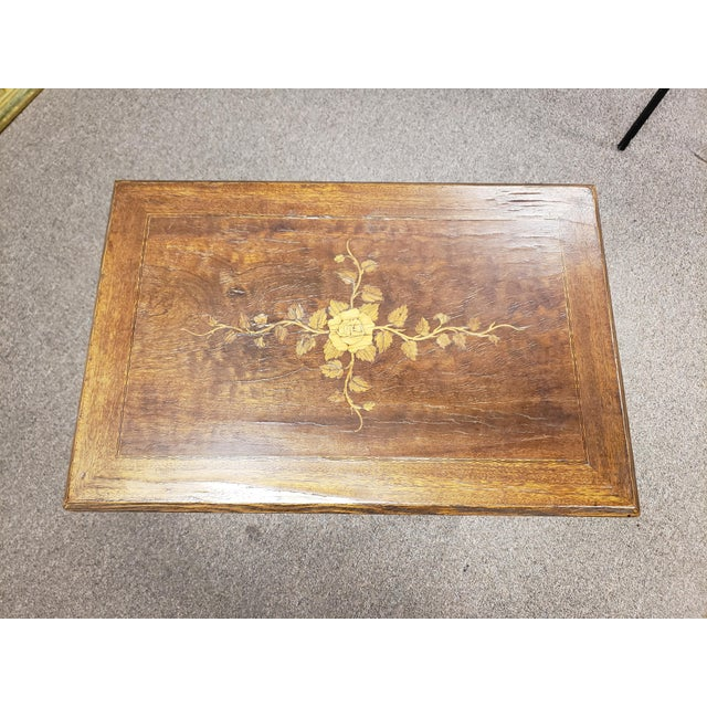 Rustic European Antique 19th Century Inlaid Wooden Dressing/Vanity Table For Sale - Image 3 of 13