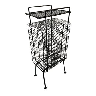 Mid-Century Modern Perforated Atomic Metal Black Magazine Holder/Side Table Telephone Stand - For Sale