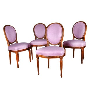 Louis XVI Pink Neoclassical Carved Wood Dining Chair Set of 4 - 19th Century France For Sale