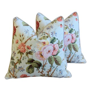 "Designer Brunschwig & Fils Floral Garden Rose Feather/Down Pillows 22"" Square - Pair For Sale"